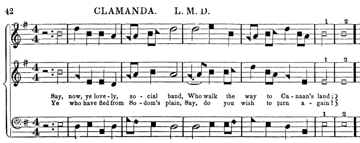 [partial score of CLAMANDA from 1859 Sacred Harp]